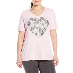 Just My Size Women's Printed Short Sleeve V-Neck